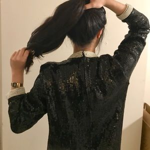 NYE Black Sequin Mini Vintage Dress Long sleeve